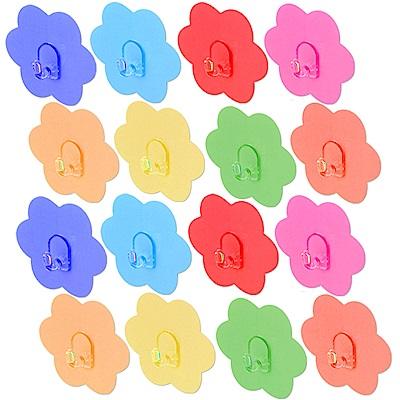 歐奇納 OHKINA 隨手貼系列_馬卡龍花朵造形重複貼掛勾16入(6.8x6.8cm)
