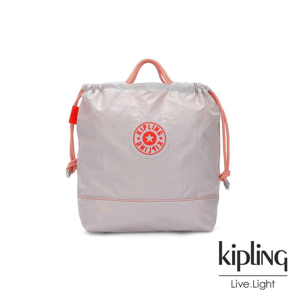 Kipling 夏日活力淺灰橘拉繩背提包-KIONAWA