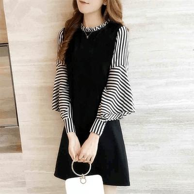 【KISSDIAMOND】韓版修身顯瘦拼接條紋泡泡袖洋裝(KDD-5309)