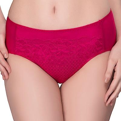 思薇爾 花霓系列M-XXL蕾絲中腰三角內褲(波爾紅)