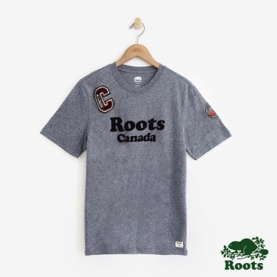 男裝Roots-補丁短袖T恤-藍