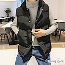 Monkey Shop 素面排釦連帽百搭鋪棉防風保暖背心外套-2色