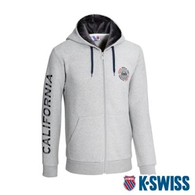 K-SWISS Sleeve CA Print Jkt刷毛連帽外套-男-灰