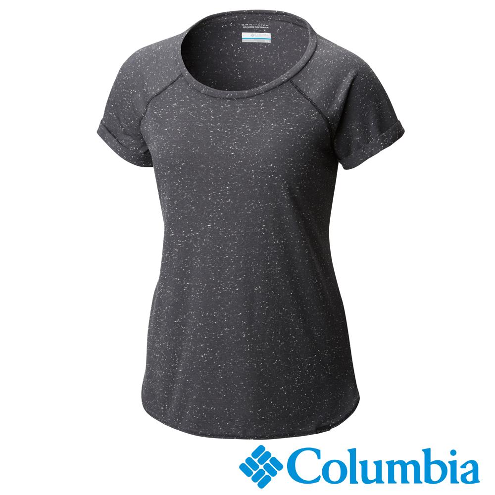 Columbia 哥倫比亞 女款-快排短袖上衣-深灰色 UAR19980DY