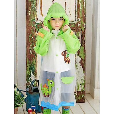 半島良品 韓國動物充氣帽兒童雨衣雨鞋-綠色恐龍L