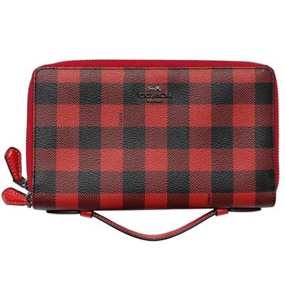 COACH紅黑格紋多功能格層長夾式旅行手拿包