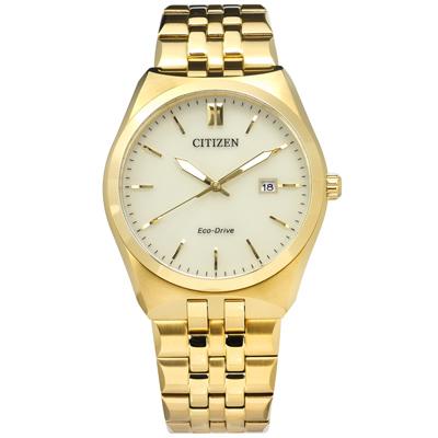 CITIZEN 光動能日系日期防水不鏽鋼手錶-米黃x鍍金/40mm