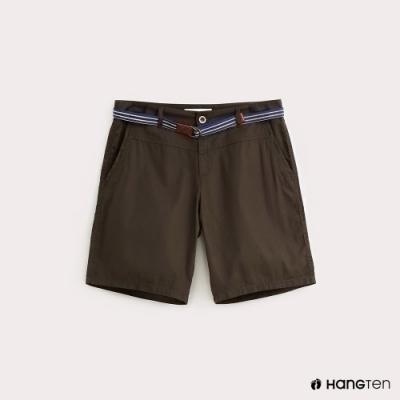Hang Ten-女裝-條紋腰帶休閒短褲-綠