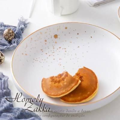 【Homely Zakka】北歐輕奢風金邊陶瓷餐具_圓形湯盤(優雅白)
