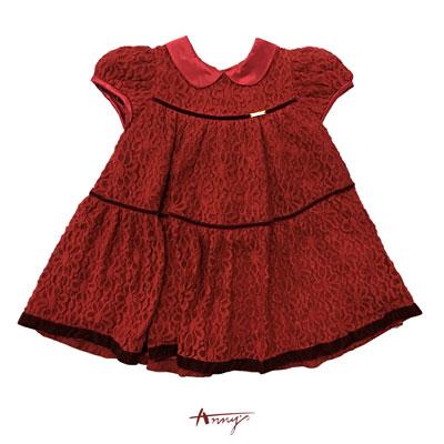Annys氣場紅高級訂製蕾絲公主袖緞質領洋裝*6243紅