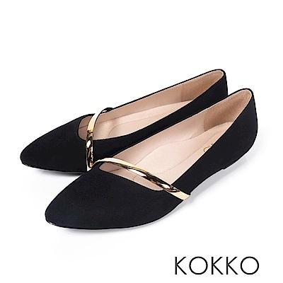 KOKKO - 輕奢女神金屬尖頭楔型真皮鞋-黑