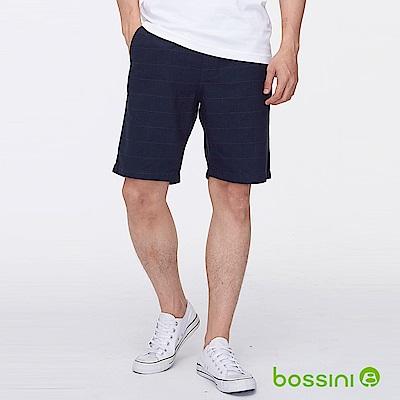 bossini男裝-格紋時尚短褲葡萄色