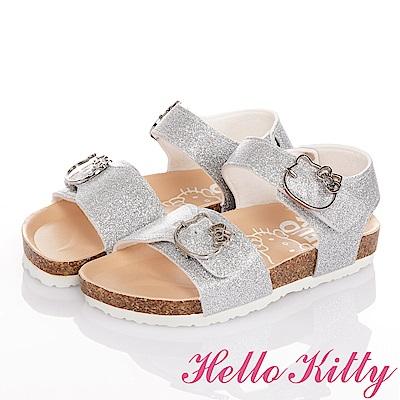 (雙11)HelloKitty 金蔥輕便減壓吸震腳床型童涼鞋-銀