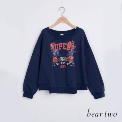 bear two- 字母玫瑰印花大學T - 藍