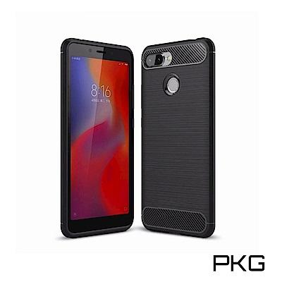 PKG 小米8 Line 手機殼時尚碳纖紋路+抗指紋-精緻黑