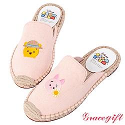 Disney collection-帆布麻編懶人拖鞋