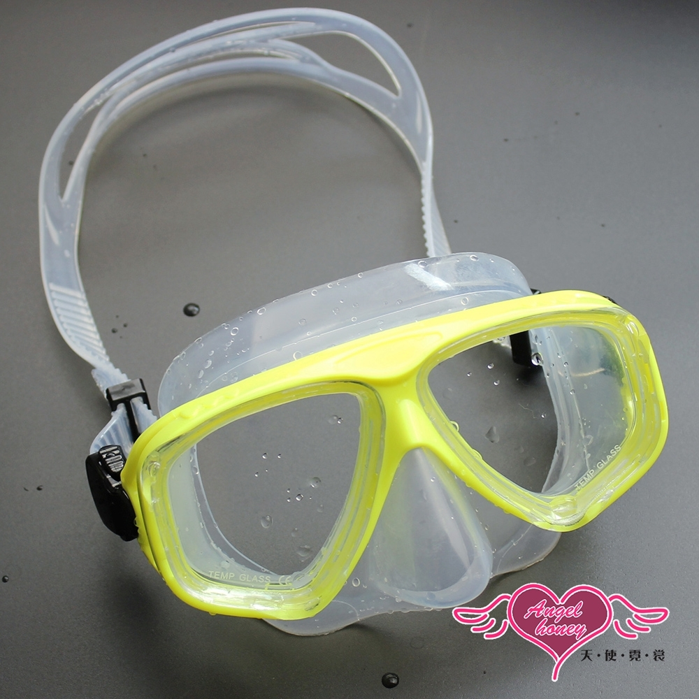 泳鏡 夏日戲水 大鏡框潛水浮淺面鏡(2011-透明黃)AngelHoney天使霓裳