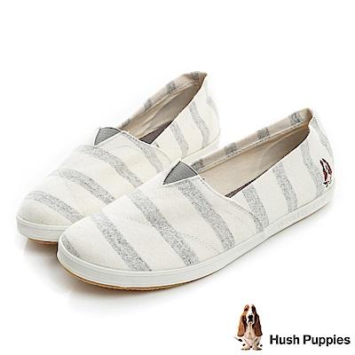 Hush Puppies 清爽條紋咖啡紗懶人鞋-灰色