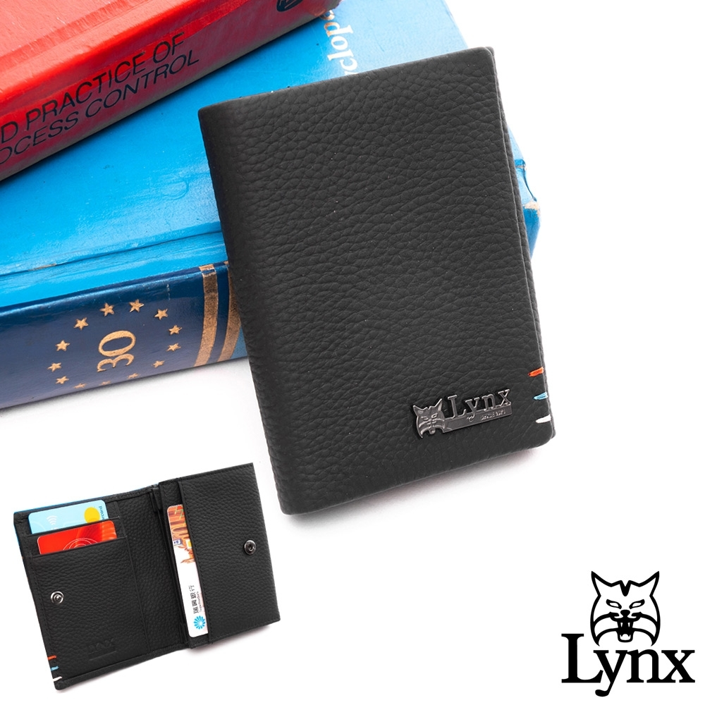 Lynx - 美國山貓進口牛皮荔枝紋4卡名片夾