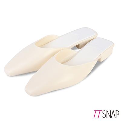 TTSNAP拖鞋-晴雨兩用細緻防水平底穆勒鞋 白