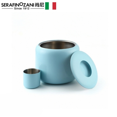 SERAFINO ZANI 經典不鏽鋼米桶-(藍綠/白)