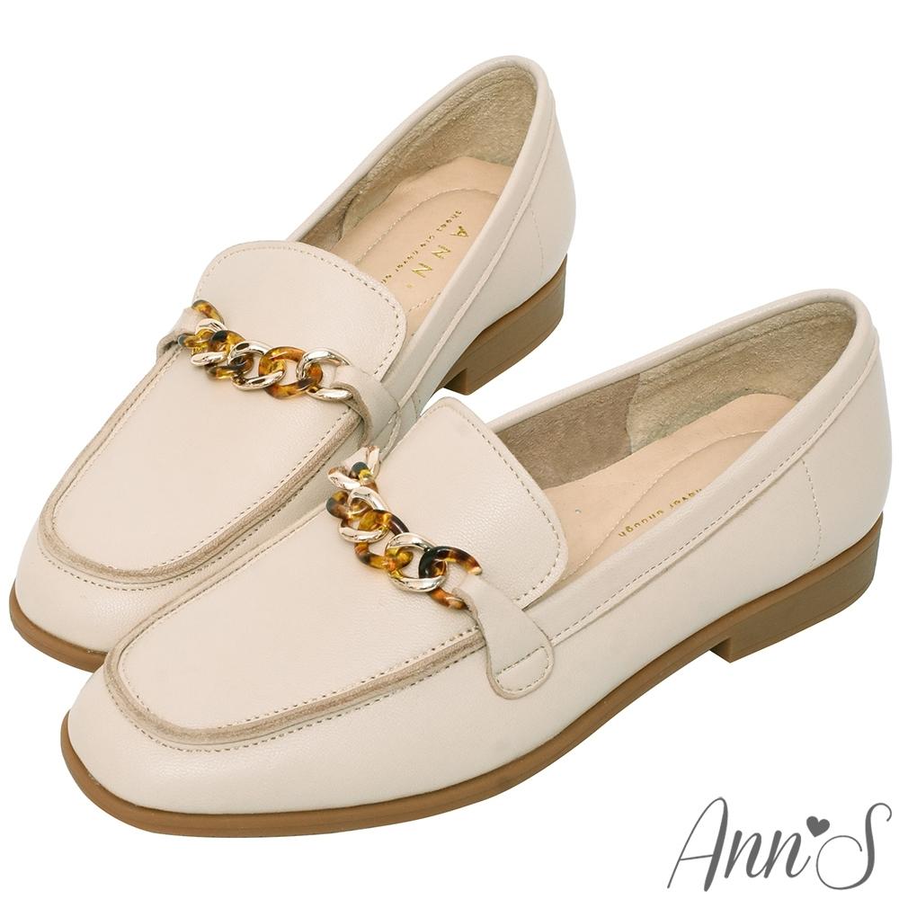 Ann'S典雅琥珀鍊帶全真皮平底紳士鞋-米白