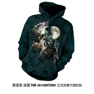 摩達客 美國進口The Mountain 三狼嚎月 長袖連帽T恤