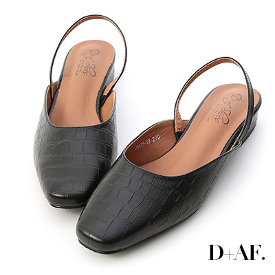 D+AF 復古美學.素面方頭後空低跟鞋*壓紋黑