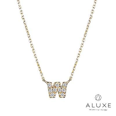 A-LUXE 亞立詩 Alphabet系列10K鑽石項鍊-W