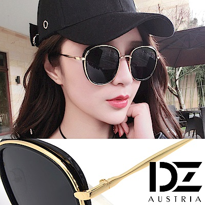 DZ 華貴層線 抗UV 防曬偏光太陽眼鏡墨鏡(黑框灰片)