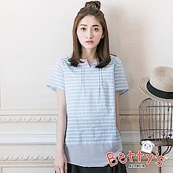 betty's貝蒂思 拼接雪紡條紋拉鍊襯衫(淺藍)