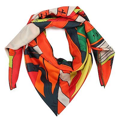 HERMES Astrologie Nouvelle Ver 真絲披肩方型大絲巾圍巾-橘紅