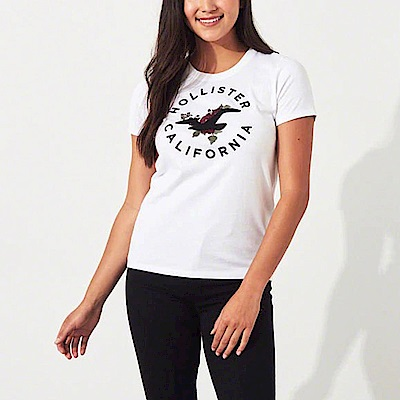HCO Hollister 海鷗 經典刺繡大海鷗文字設計短袖T恤(女)-白色