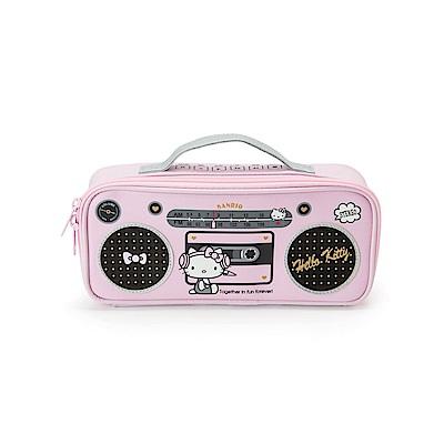 Sanrio HELLO KITTY PU皮革手提筆袋(復古收音機)