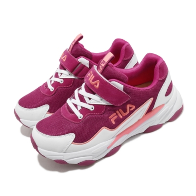 Fila 慢跑鞋 J805U 運動 童鞋 輕量 透氣 舒適 避震 魔鬼氈 中大童 紫 粉 3J805U125