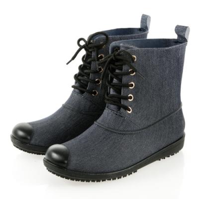 JMS-率性百搭雨天首選綁帶馬丁款雨靴-牛仔藍