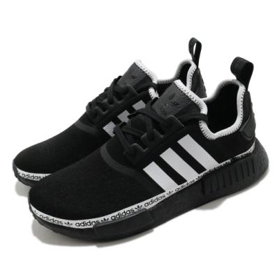 adidas 休閒鞋 NMD R1 襪套式 男女鞋 愛迪達 三葉草 緩震 Boost 情侶鞋 黑 白 FV8729