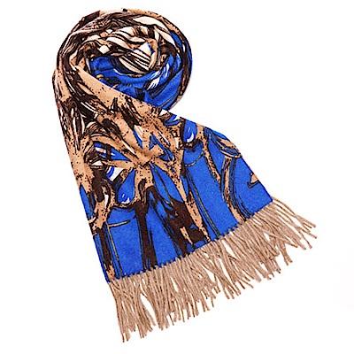 ELLE 法式浪漫優雅圖案羊毛披肩_藍
