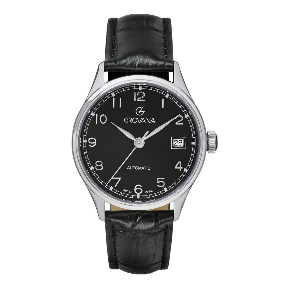 (福利品) GROVANA瑞士錶 自動機械女錶(3190.2537)-黑面x黑皮帶/35mm