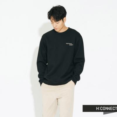 H:CONNECT 韓國品牌 男裝 - 後圖印棉質大學T - 黑