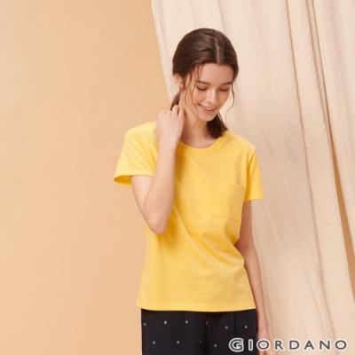 GIORDANO 女裝寬版素色圓領口袋T恤-43 奶油黃