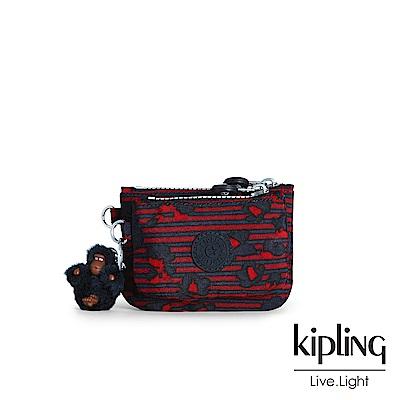 Kipling 高雅紅花條紋雙拉鍊袋零錢包-SYRINE