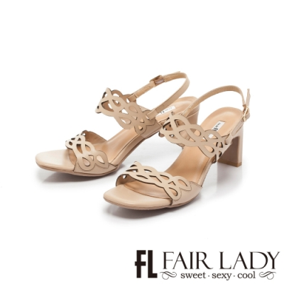 FAIR LADY Early Summer造型鏤空拉帶扁跟高跟涼鞋 卡其