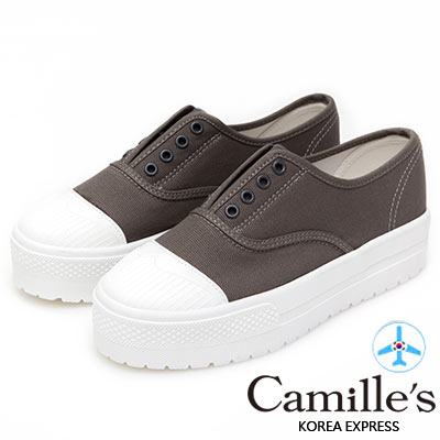 Camille's 韓國空運-正韓製-丹寧8孔免綁帶厚底休閒鞋-深灰色