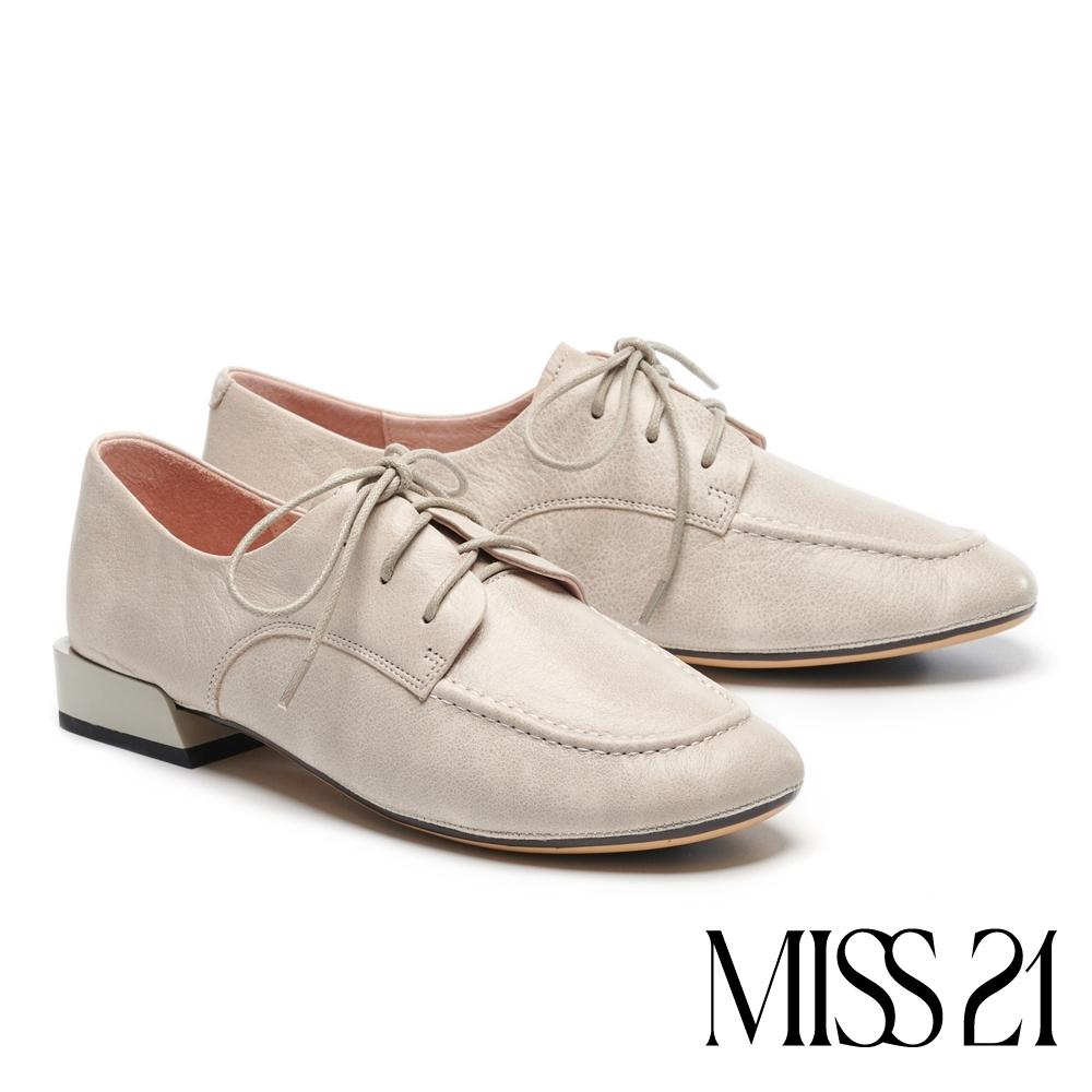 低跟鞋 MISS 21 復古英倫文藝風內增高德比低跟鞋-灰