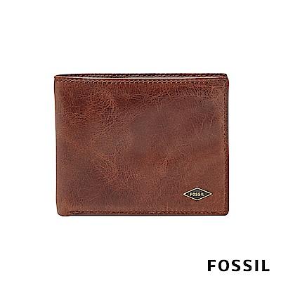 FOSSIL RYAN 真皮RFID實用男夾-咖啡色 ML3729201