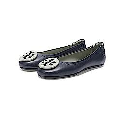 TORY BURCH 經典LOGO雙色鬆緊平底娃娃鞋(深藍色)