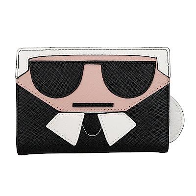 KARL LAGERFELD 卡爾造型護照夾 (黑色)
