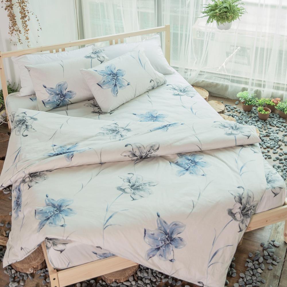 BUHO 精梳純棉單人床包組+雙人被套三件組(韶華清雲)