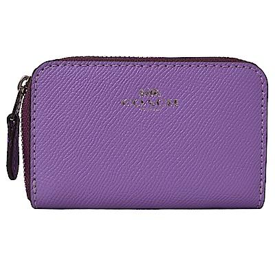 COACH燙銀LOGO防刮全皮革拉鍊名片夾/零錢包-芋紫